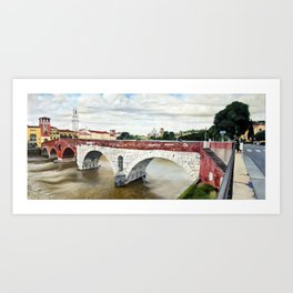 Lovers Bridge in Verona Art Print