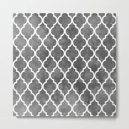 Classic Quatrefoil Lattice Pattern 915 Gray Metal Print