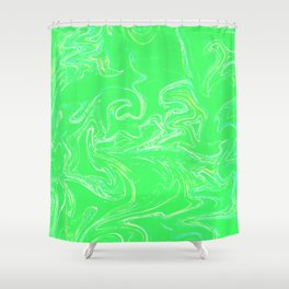 Neon green abstract Shower Curtain