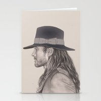 jared leto Stationery Cards featuring JARED LETO AND HIS HAT by Kat Winroom
