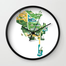 Map of Los Angeles Wall Clock