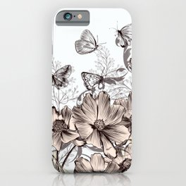 Butterfly Flowers And Butterflies Stencil iPhone Case