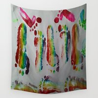 duvet cover Wall Tapestries featuring FOOTSTEPS DUVET COVER DESIGN by aztosaha