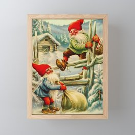 """""""Over the Wooden Fence"""" Gnomes by Jenny Nystrom Framed Mini Art Print"""