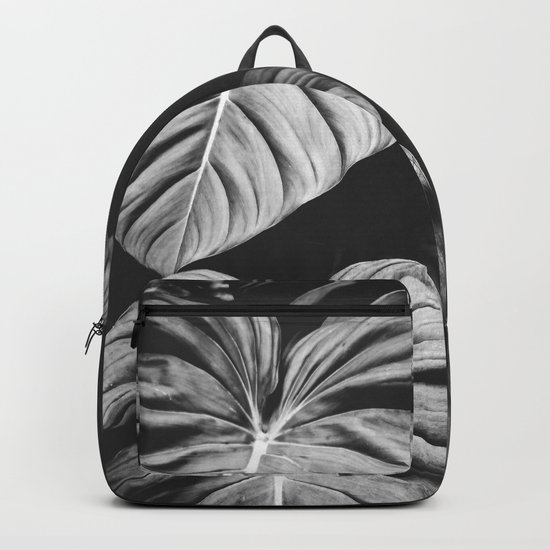 Monstera Black and White Backpack