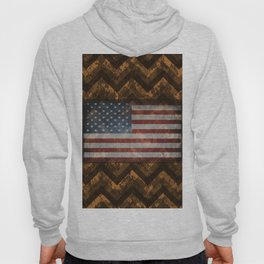 Copper Orange Digital Camo Chevrons with American Flag Hoody