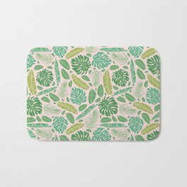Tropical leaves mix on light background Bath Mat