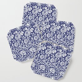 "William Morris Floral Pattern | ""Pink and Rose"" in Navy Blue and White Coaster"