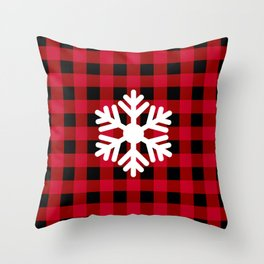 Red Buffalo Check - snowflake - more colors Throw Pillow