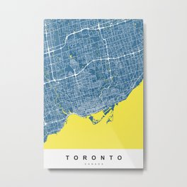 Toronto Map | Canada | Blue & Yellow | More Colors, Review My Collections Metal Print