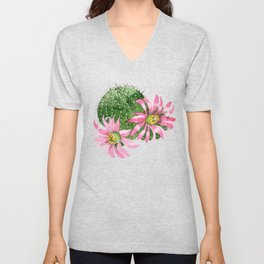 Cactus Watercolor Light Pink Blooms Cactus Unisex V-Neck