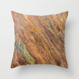 Rusty Latte // Orange Redish Stone Diagonal Texture Autumn Color Profile Throw Pillow