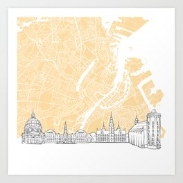 Copenhagen Denmark Skyline Map Art Print