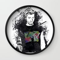 zayn malik Wall Clocks featuring Zayn Malik 1D by Mariam Tronchoni