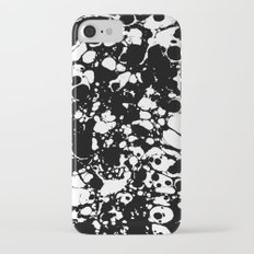 Black and white contrast ink spilled paint mess iPhone 7 Slim Case