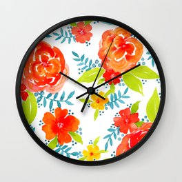 Tropical Watercolor Floral Print  Wall Clock