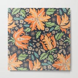 Cora Flora_ Orange and Slate Blue Metal Print