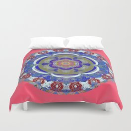 Peace, Romance & Health Retro Rococo Boho Stamp Print Mandala Duvet Cover