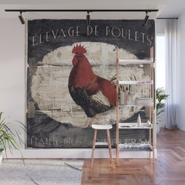 Vintage French Farm Sign Rooster Wall Mural