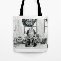 inner demons Tote Bags featuring Inner Demons by Art & Ink