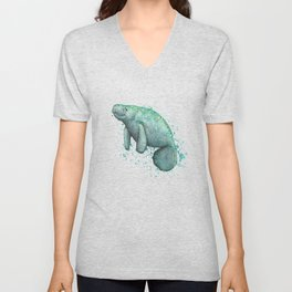 """Mossy Manatee"" by Amber Marine ~ Watercolor & Ink Painting, (Copyright 2016) Unisex V-Neck"