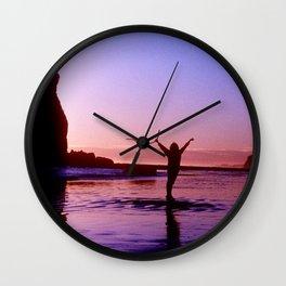 Pacific Epic Sunset: Happy, Joyful & Free! Wall Clock