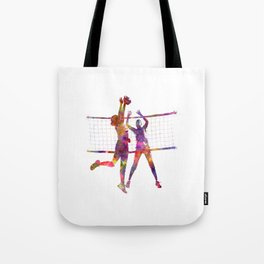 Women volleyball players in watercolor Tote Bag