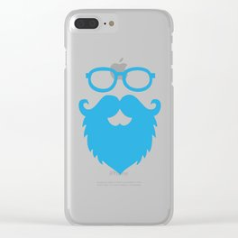 Hipster Beard Blue Clear iPhone Case