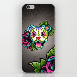 Smiling Pit Bull in White - Day of the Dead Pitbull Sugar Skull iPhone Skin