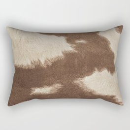 Cowhide Brown and White Rectangular Pillow