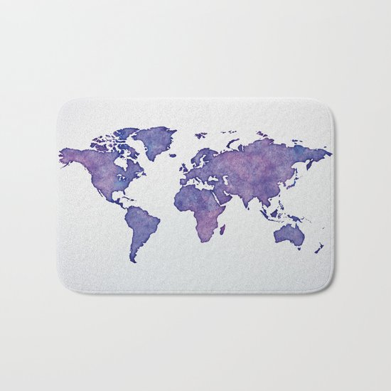 Purple World Map 02 Bath Mat