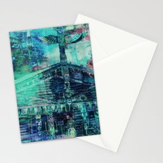 Totem Cabin Abstract - Teal Stationery Cards