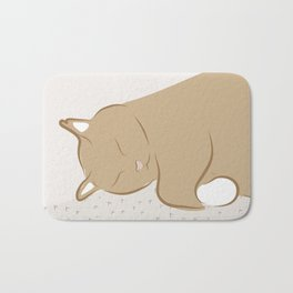 Happy Sleepy Kitty Illustration Bath Mat