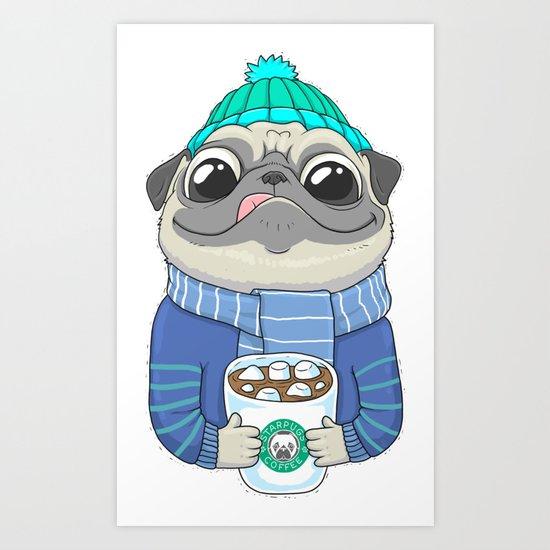 Pug with coffee Art Print