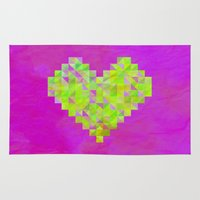 valentines Area & Throw Rugs featuring Neon Valentines by Fimbis