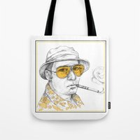 fear and loathing Tote Bags featuring Fear and Loathing in Las Vegas by Michelle Eatough