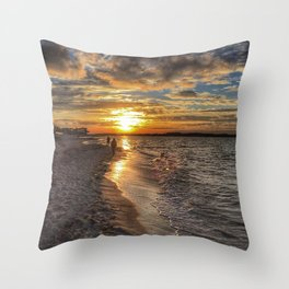 Sunbathing in the Winter time Throw Pillow