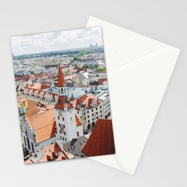 Aerial City View from the Church of St. Peter Tower in Munich, Germany Stationery Cards