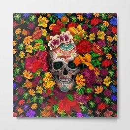 Day of the dead sugar skull flower Metal Print