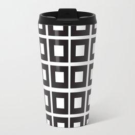 Nested Squares Black & White Travel Mug