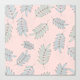 Good Vibrations / Pink Green Leaves Pattern Canvas Print