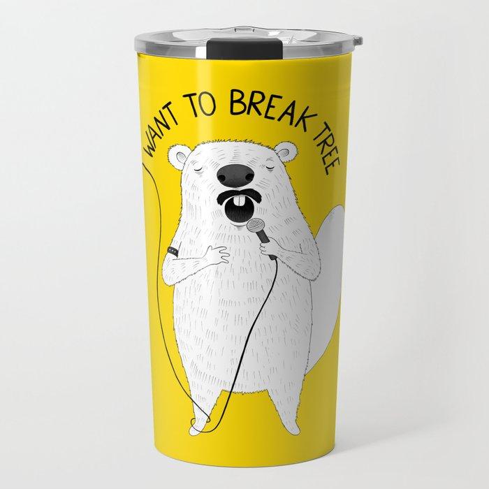 Beaver singing Queen | Animal Karaoke | Illustration Travel Mug