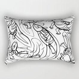 Scribbled Axolotls Rectangular Pillow