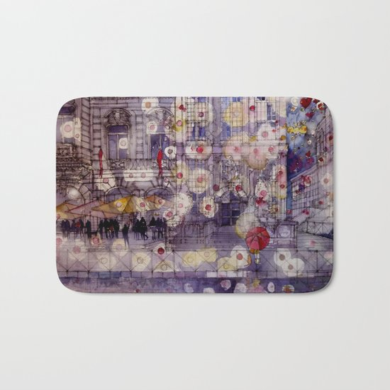 Girl with a red umbrella Bath Mat
