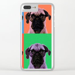 Geek Pug in 4 Colors Clear iPhone Case