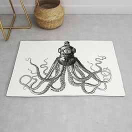 Octopus in Diving Helmet | Deep Sea Divers Helmet | Vintage Octopus | Tentacles | Black and White | Rug