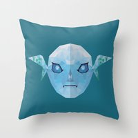 majoras mask Throw Pillows featuring Majoras Mask Zora by lowpolyfish