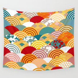 Nature background with japanese sakura flower, orange red pink Cherry, wave circle pattern Wall Tapestry