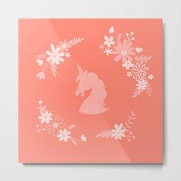 Coral Pink Florals Metal Print