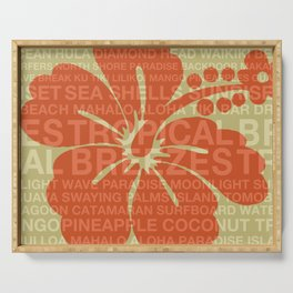 Summer Words Hawaiian Hibiscus Graphic Design Serving Tray